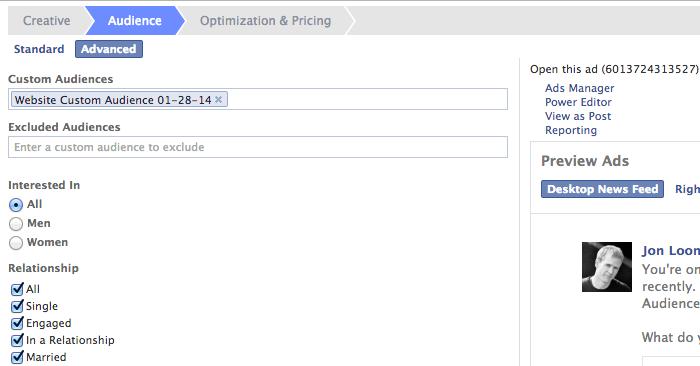 Facebook Website Custom Audiences Create Ad