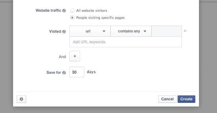 Facebook Website Custom Audience Specific Pages