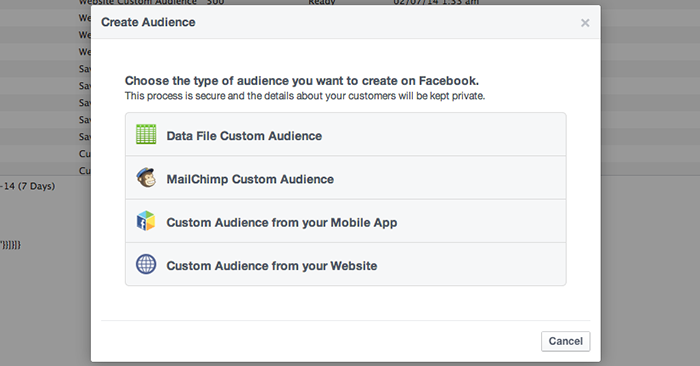 Facebook Website Custom Audiences Step 2