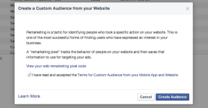 Facebook Website Custom Audiences Step 3