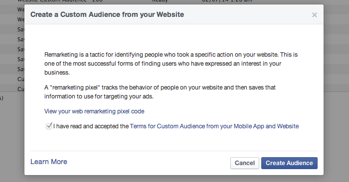 Facebook Website Custom Audiences Step 3