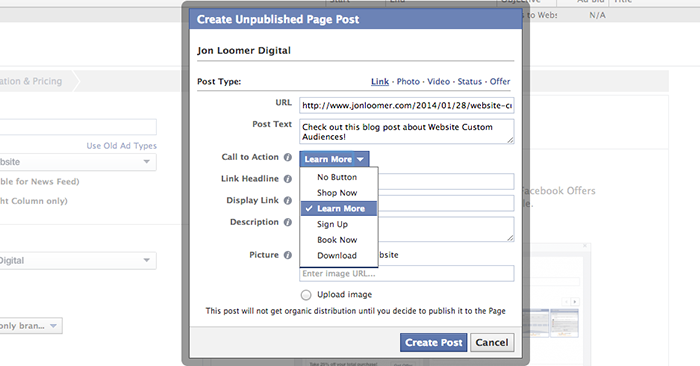 create call to action button facebook ad 2 Facebook Call to Action Buttons: Create for Ads and Organic Posts