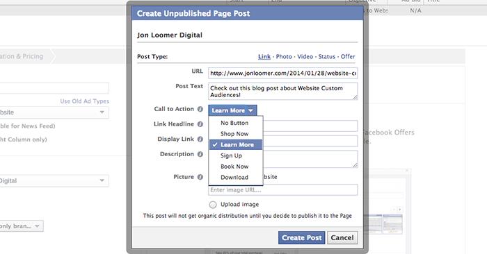 Create Call-to-Action Button Facebook Ad