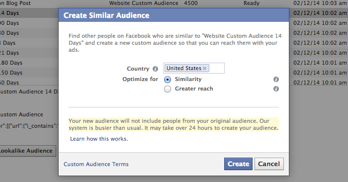 Facebook Power Editor Create Similar Audience for WCA