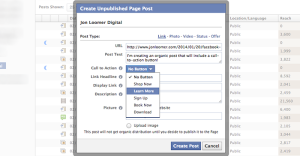 Facebook power Editor Create Unpublished Post