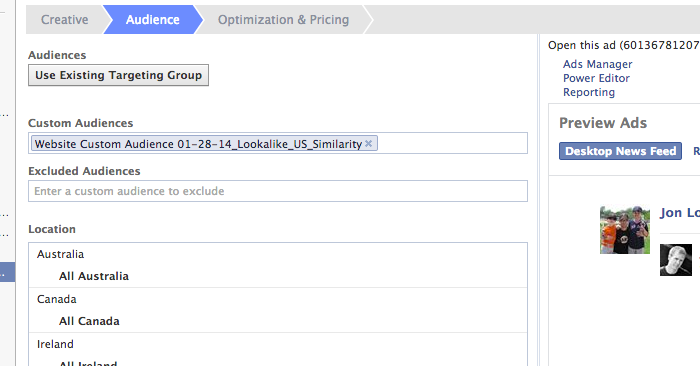 Facebook Power Editor Enter Custom Audience Ad