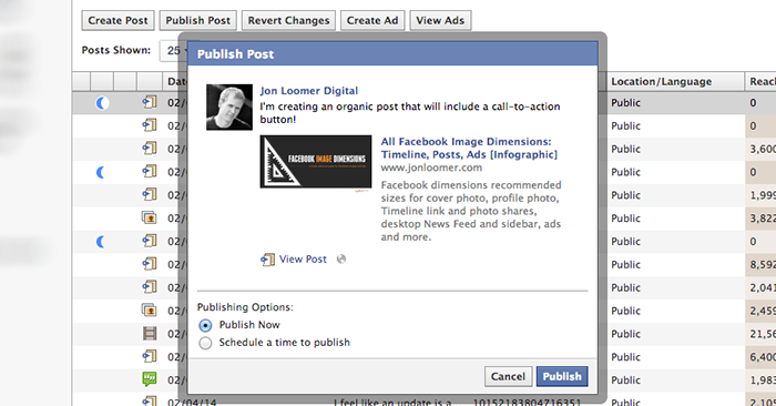 facebook power editor publish unpublished post Facebook Call to Action Buttons: Create for Ads and Organic Posts