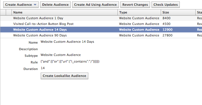 Facebook Website Custom Audience Create Lookalike