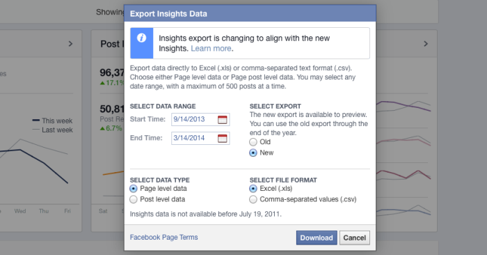 download facebook insights export 700x366 Experiment: What Percentage of Facebook Fans REALLY Saw Your Post?