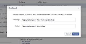 Facebook Campaign Structure Create Ad