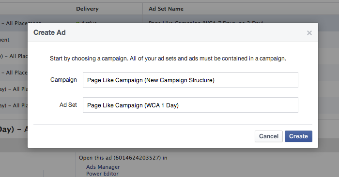 Facebook Campaign Structure Create Ad