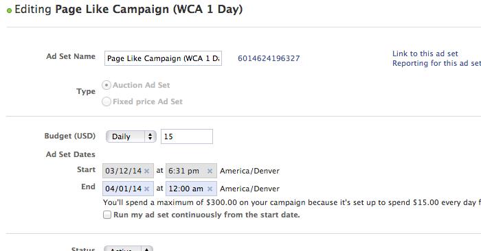 Facebook Campaign Structure Create Ad Set