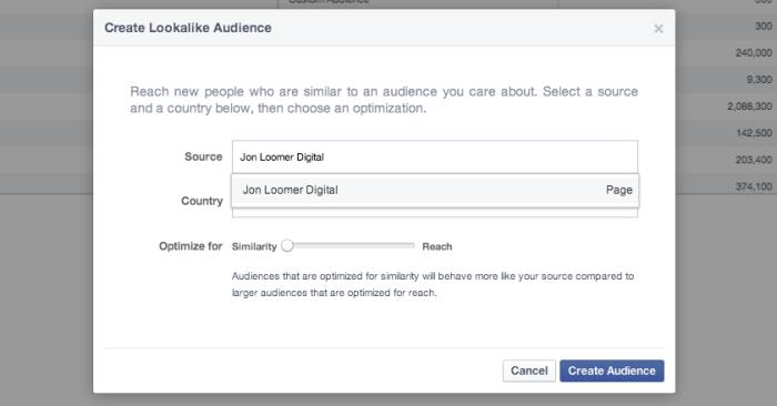 Facebook Power Editor Create Lookalike Audience Page