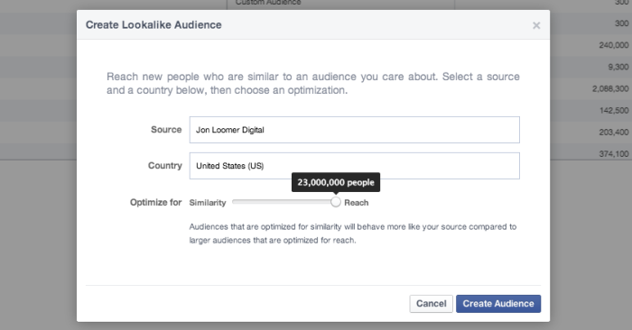 Facebook Power Editor Create Lookalike Audience Reach