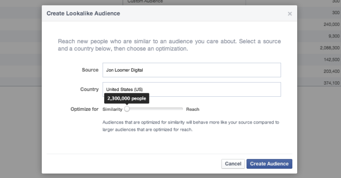 Facebook Power Editor Create Lookalike Audience Similarity