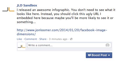Facebook Text Update Link