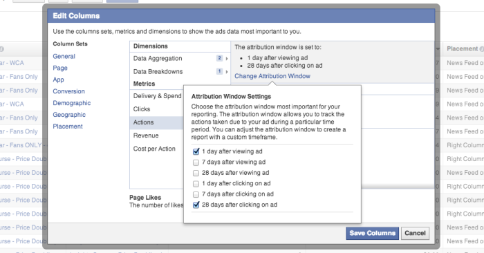 Facebook Edit Columns Attribution Window Settings