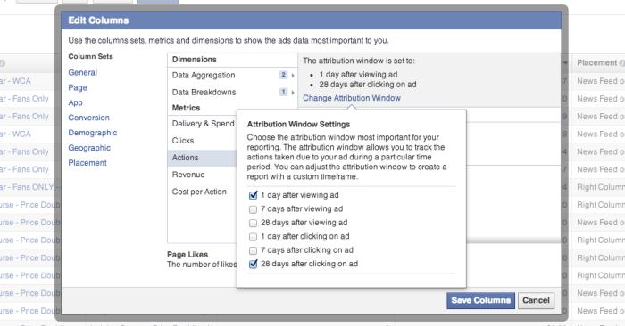 Facebook Edit Columns Attribution Window Settings