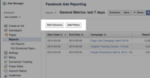Facebook Ad Reports Edit Columns and Add Filters