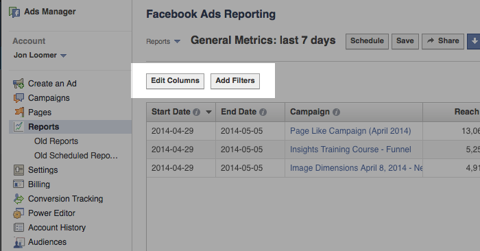 facebook ad reports edit columns ad filters Advanced Facebook Ads: View Performance by Placement and Demographics