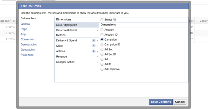 facebook ad reports edit columns dialog Advanced Facebook Ads: View Performance by Placement and Demographics