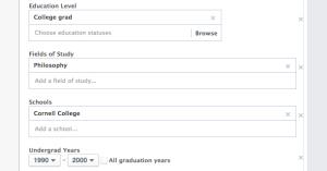 Facebook Core Audiences More Demographics: Education