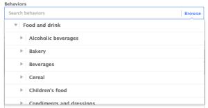 Facebook Power Editor Behavior Food and Drink