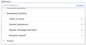 Facebook Power Editor Behaviors Residential Profiles