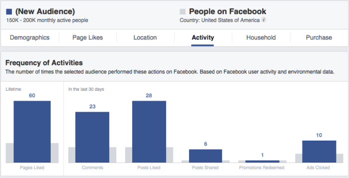 Facebook Audience Insights Activity