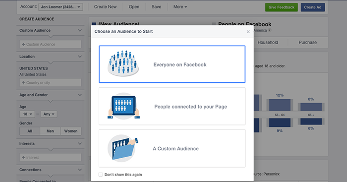 Facebook Audience Insights Create New
