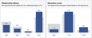 Facebook Audience Insights Demographics Relationship Status and Education Level