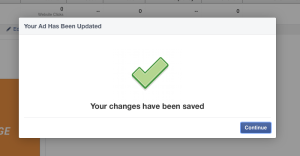 Facebook Ad Changes Saved