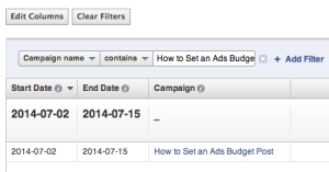 Facebook Ad Reports Filter