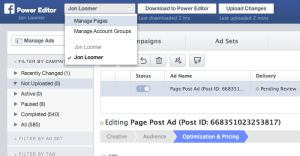 Facebook Edit Dark or Unpublished Post in Power Editor