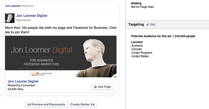 Facebook Page Like Campaign Interests