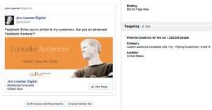 Facebook Page Like Campaign Paying Customers Lookalike Audience