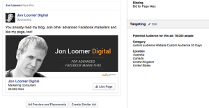 Facebook Page Like Campaign Website Custom Audience 30 Day