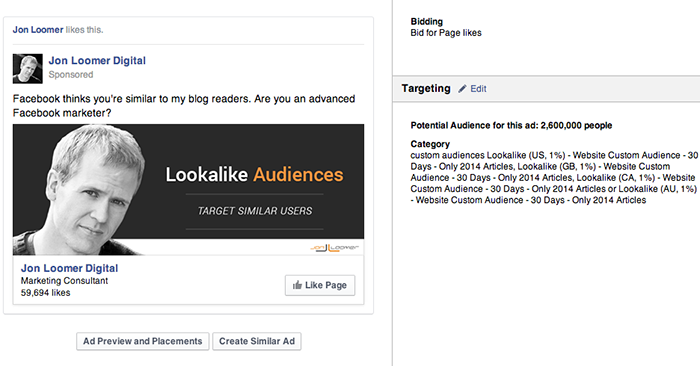 Facebook Page Like Campaign Website Visitors Lookalike Audience