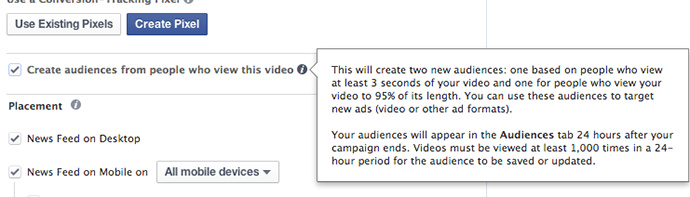 Facebook Power Editor Create Video View Audience