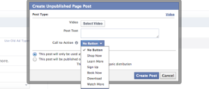 Facebook Video Call to Action Button