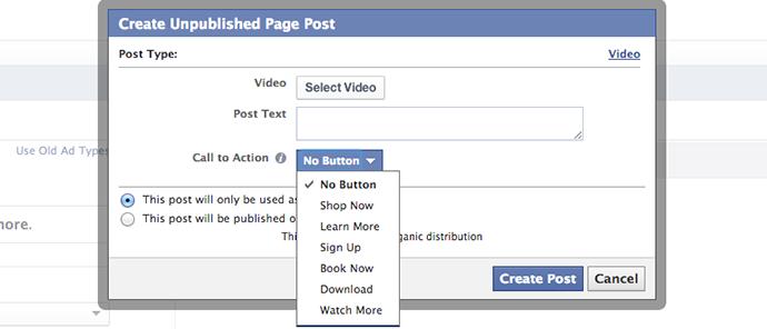 Facebook Video Call to Action Button