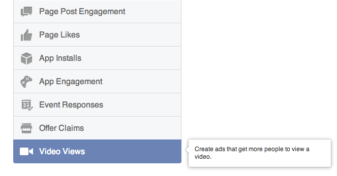 Video Views Objective Facebook Ad Create Tool