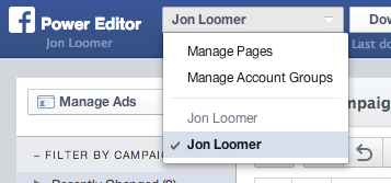 Facebook Power Editor Select Account