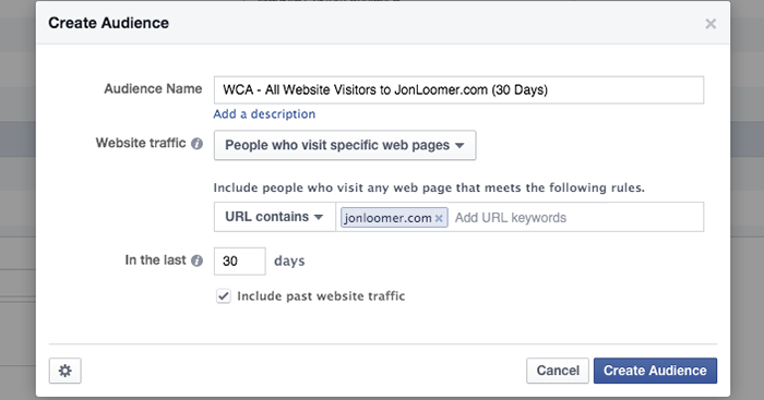 Facebook Website Custom Audience All Visitors Rule