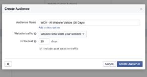 Facebook Website Custom Audience All Visitors