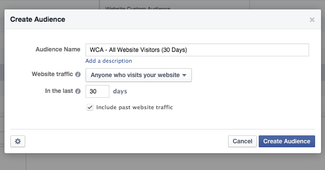 Facebook Website Custom Audience All Visitors