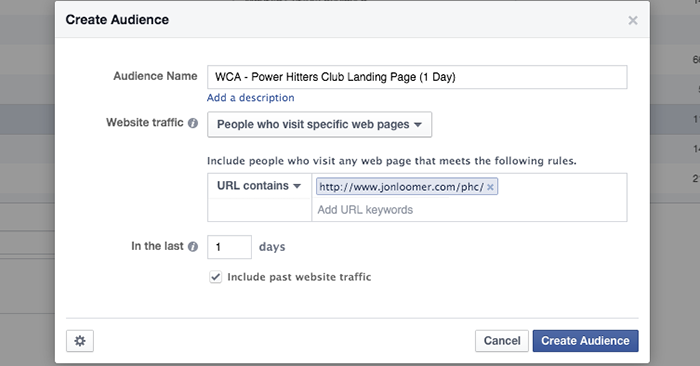 Facebook Website Custom Audience Abandoned Shopping Cart