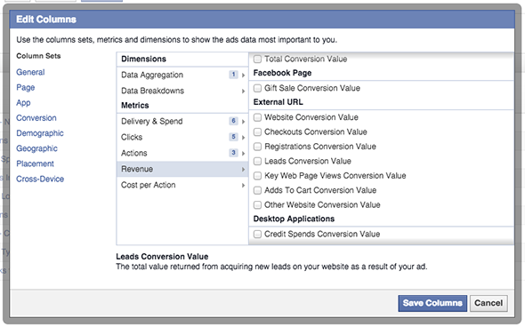 Facebook Ad Reports Conversion Revenue