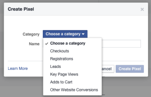 Facebook Ads Manager Create Pixel Choose Category