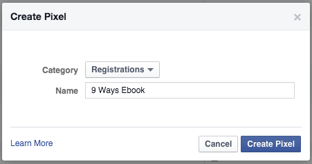 Facebook Ads Manager Create Pixel Submit